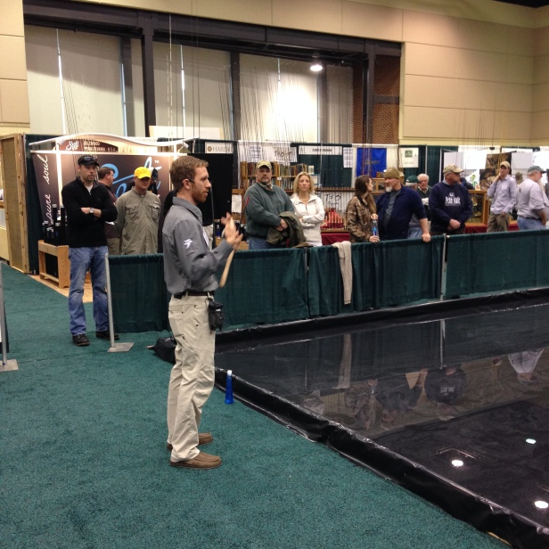 Daniel Galhardo of Tenkara USA gives a casting demonstration at the Fly Fishing Show in Lancaster, PA.