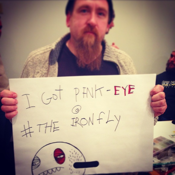 Guess what Garrick caught while at IronFly? Pink eye!