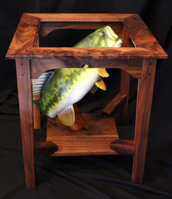 Black Walnut Table with Largemouth Bass
