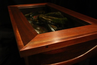 Peruvian Walnut Coffee Table with Rainbow Trout